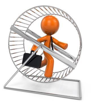 3d Orange Man Running in Hamster Wheel