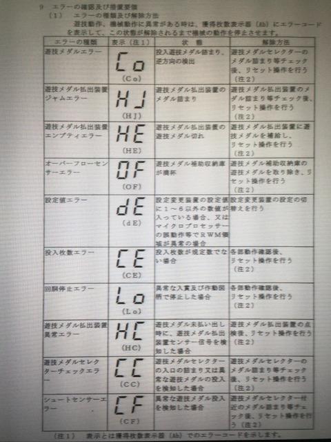 GOGOジャグラーのエラーコード表